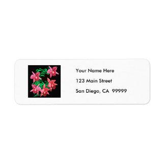 Red Orchids of Black Background Return Address Label