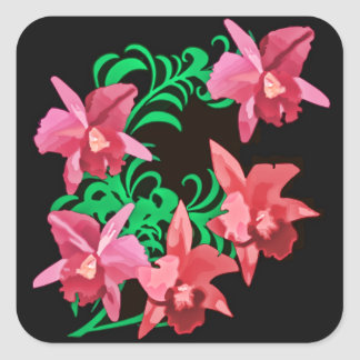 Red Orchids of Black Background Square Sticker