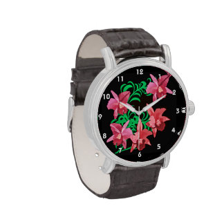 Red Orchids on Black Background Wristwatches