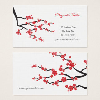 Red Oriental Cherry Blossoms Asian Profile Card