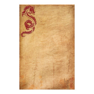 Red Oriental Dragon II Stationery Paper