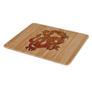 Red Oriental Dragon on Bamboo style Cutting Board