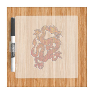 Red Oriental Dragon on Bamboo style Dry Erase Board