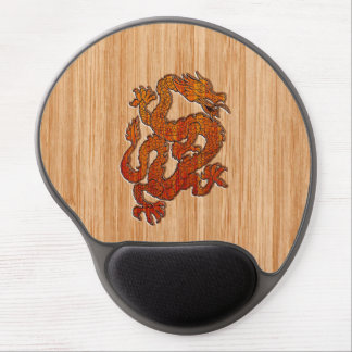 Red Oriental Dragon on Bamboo style Gel Mouse Pad