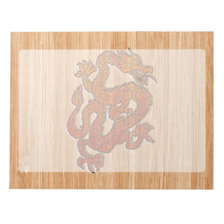 Red Oriental Dragon on Bamboo style Notepad