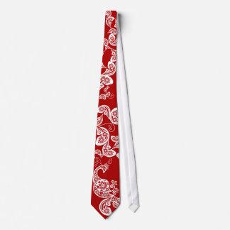 Red Oriental Peacock Floral Paisley Elegant Tie