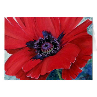 Red Oriental Poppy Card