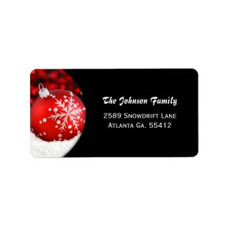 Red Ornament Christmas Address Labels