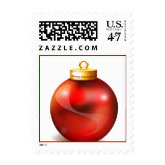Red Ornament Christmas Postage Stamp