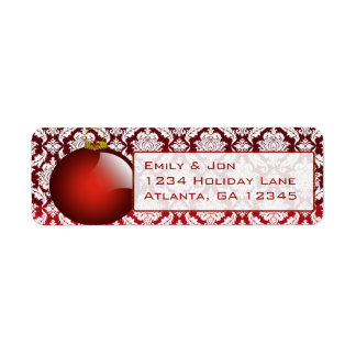 Red  Ornament Damask  Christmas Labels