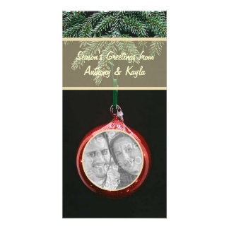 Red Ornament Dangling On Branch Photo Holiday Card Photo Card