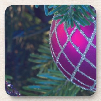Red Ornament Drink Coaster