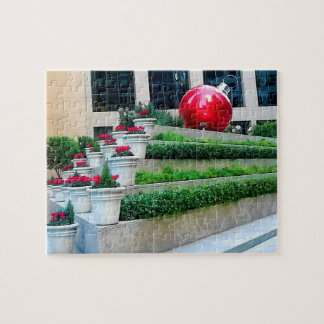 Red Ornament & Flowers Jigsaw Puzzle