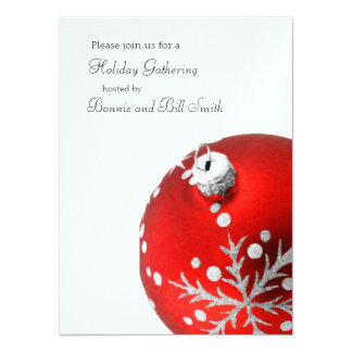 Red Ornament Holiday Gathering Card