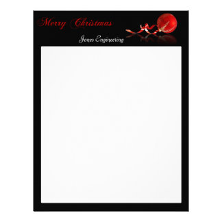 Red Ornament Merry Christmas on Black Letterhead