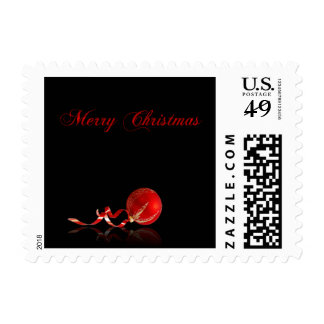 Red Ornament Merry Christmas on Black Postage Stamps