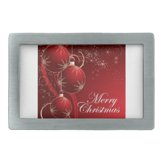 Red Ornament Merry Christmas Rectangular Belt Buckle