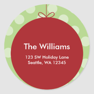 Red Ornament Polka Dots Christmas Address Label Classic Round Sticker