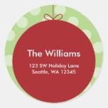 Red Ornament Polka Dots Christmas Address Label Round Sticker