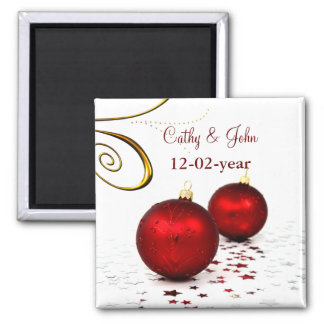red ornament Save the date magnet