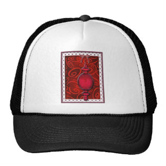 Red ornament trucker hat