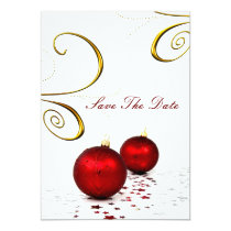 red ornament winter save the date announcement