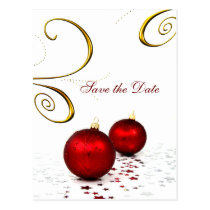 red ornament winter wedding save the date postcard