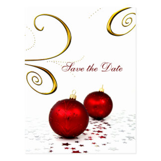 red ornament winter wedding save the date post card