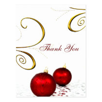 red ornament  winter wedding Thank You cards