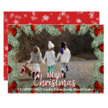 Red Ornaments Christmas Holiday Family | PHOTO Card