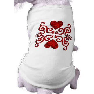 red Ornaments, heart and lily T-Shirt