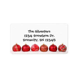 Red Ornaments Holiday Address Avery Label
