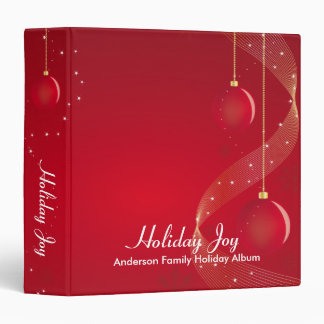 Red Ornaments Holiday Joy 3 Ring Binder