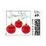 Red Ornaments Holiday Photo Custom Stamps
