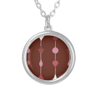 Red Ornaments Silver Plated Necklace