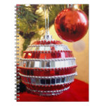 Red Ornaments Spiral Notebooks