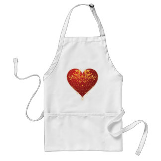 Red Ornate Heart Adult Apron