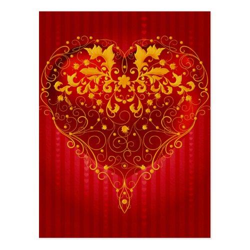 Red Ornate Heart Postcard