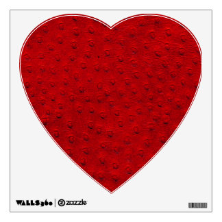 Red Ostrich Leather Print Heart Wall Decal