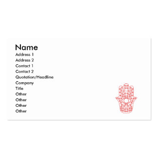 Red Outline Hamsa-Hand of Miriam-Hand of Fatima.pn Double-Sided Standard Business Cards (Pack Of 100)