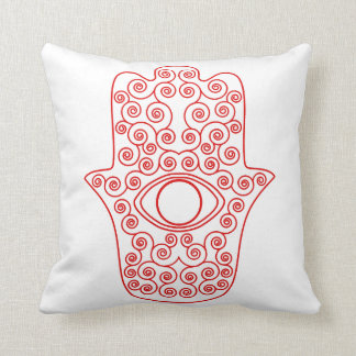 Red Outline Hamsa-Hand of Miriam-Hand of Fatima.pn Pillows