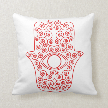 Red Outline Hamsa-Hand of Miriam-Hand of Fatima.pn Pillow