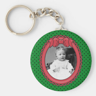 Red Oval Frame with Bow & Green & Polka Dots Backg Keychain
