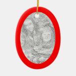 Red Oval Shape Framed Ornament