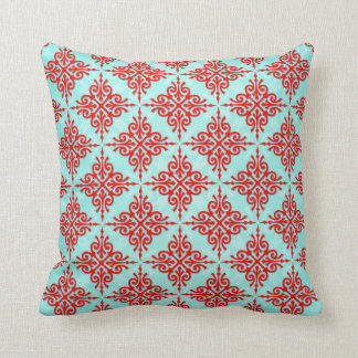 Red over Teal Damask Pattern Throw Pillow