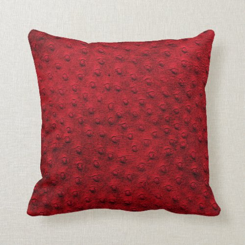 Red Oversized Ostrich Leather Grain Pillow