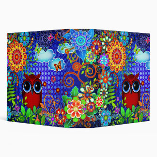 Red Owl and Flowers Art Binder