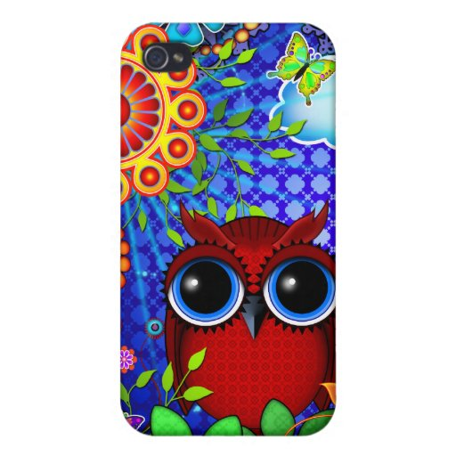 Red Owl and Flowers Art iPhone case Cover For iPhone 4