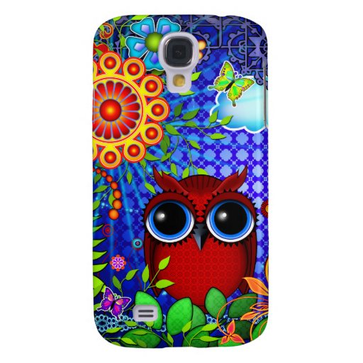 Red Owl and Flowers Art iPhone Skin Samsung Galaxy S4 Cover