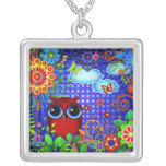 Red Owl and Flowers Art Necklace Pendant